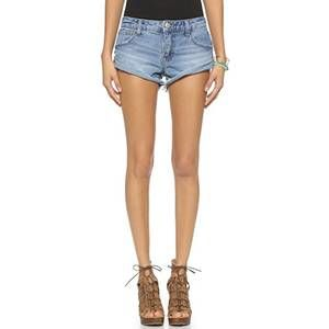 Free People light wash step raw hem cutoff shorts